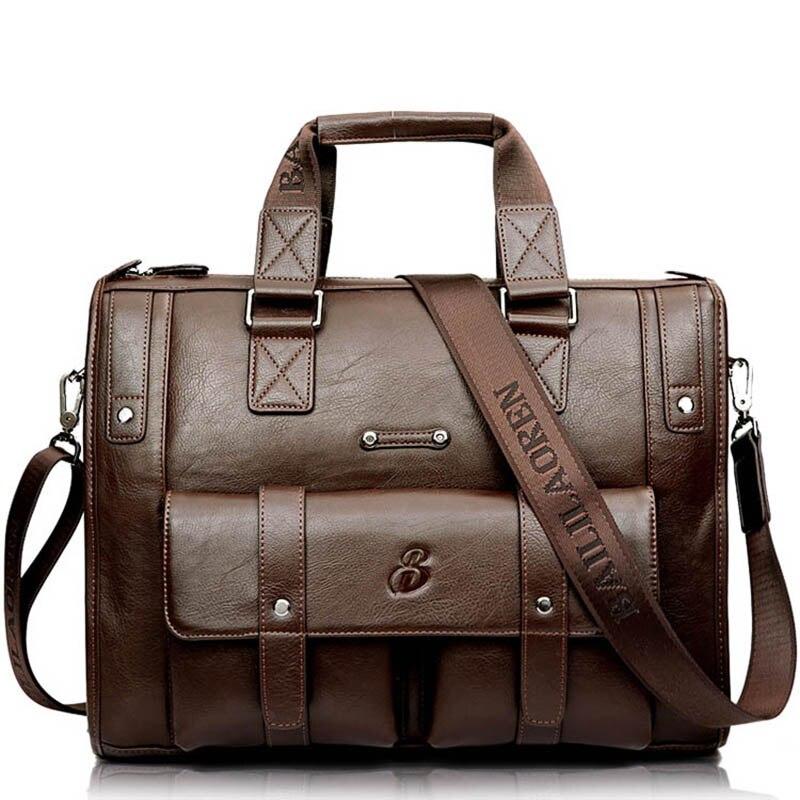 Men's Briefcase Handbag Messenger-Bag Travel-Bags Portable 16inch PU Man