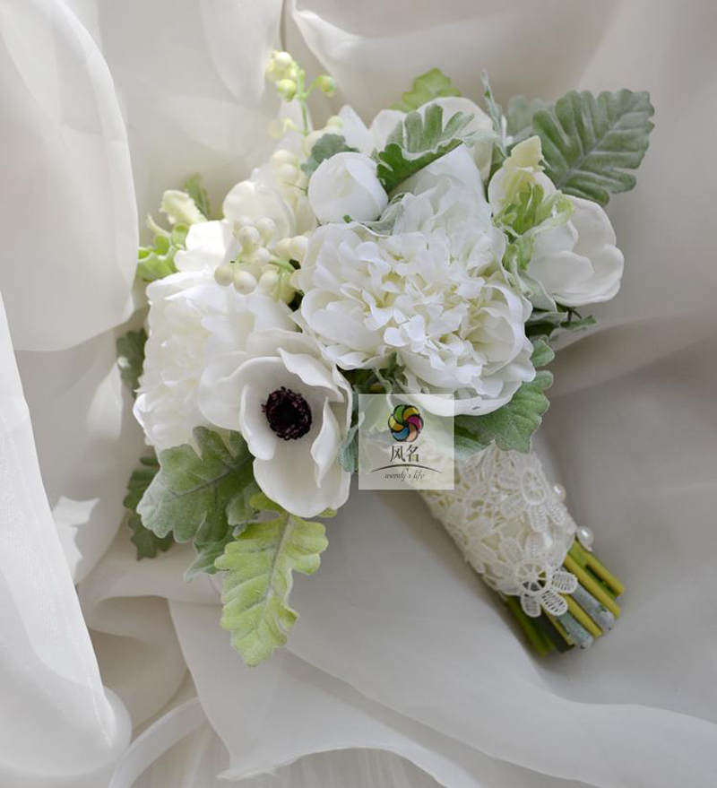 New wedding bouquet wedding flower floral bridal bridesmaid bouquets white artificial anemone - Flowers good luck bridal bouquet ...