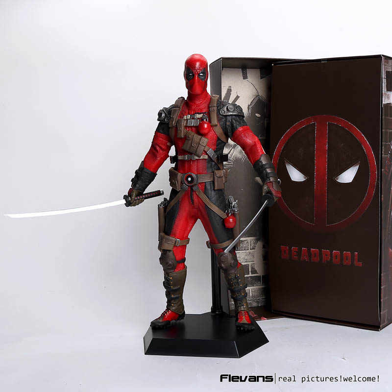 "Louco Brinquedos Deadpool PVC Action Figure Collectible Modelo Toy 12 ""30 cm vermelho/sliver HRFG516"