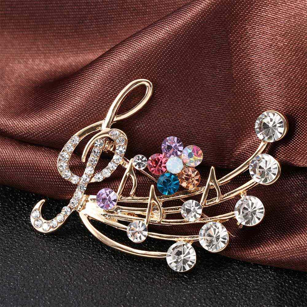 Crystal Musical Note Flower Blossom Brooch Pins Colorful Crystal Metal Lapel Pin Fashion Corsage Dress Coat Accessories