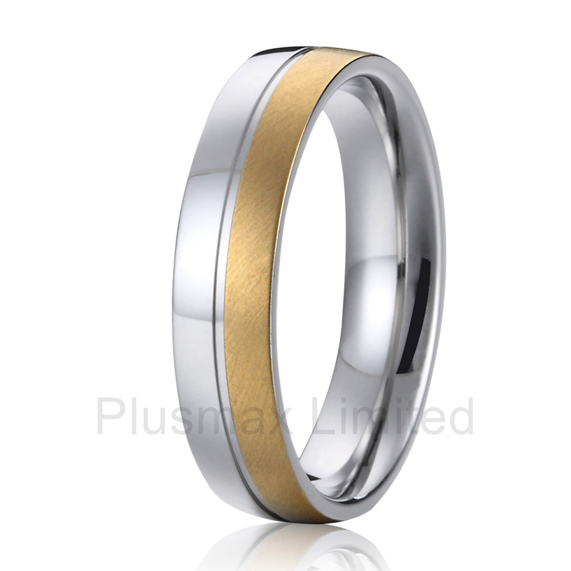 high quality anel ouro Two tone wedding band for men gold color fashion finger titanium rings anel masculino ouro cheap pure titanium jewelry handcrafted unique shape mens wedding band fashion rings