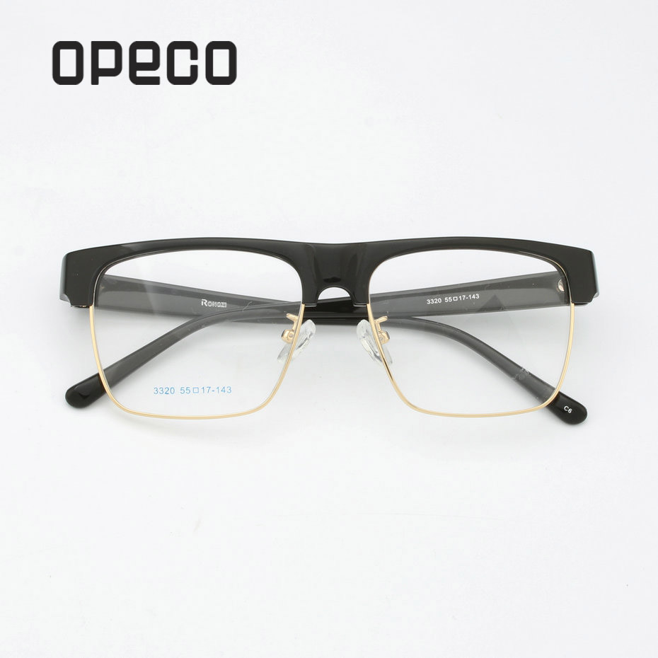 Opeco big size acetate with metal classical eyeglasses including prescription lenses eyewear RX recipe frame spectacles #3320