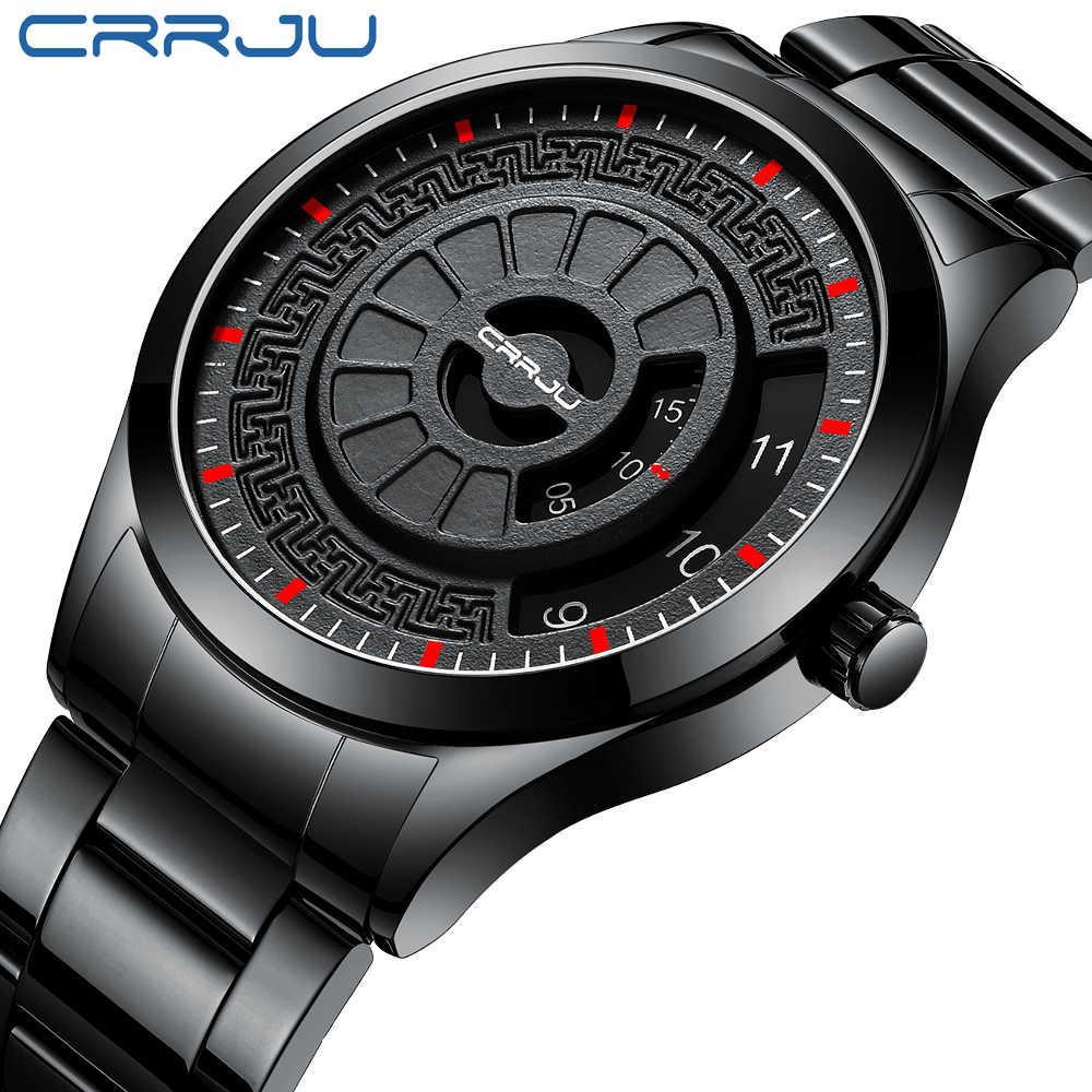CRRJU אופנה גברים שעון יוקרה למעלה מותג ייחודי סגנון שעון גברים קוורץ שעון עמיד למים גדול חיוג ספורט שעונים רטרו Relogio