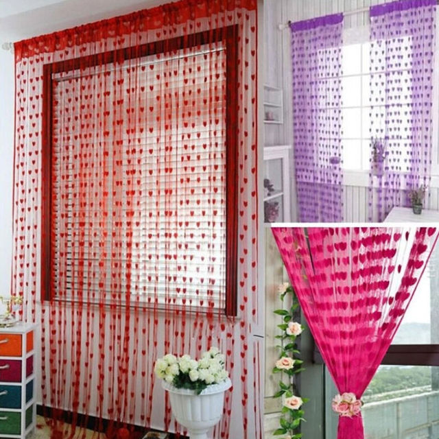 Cute Heart Line Tassel String Door Curtain Window Room Divider ...