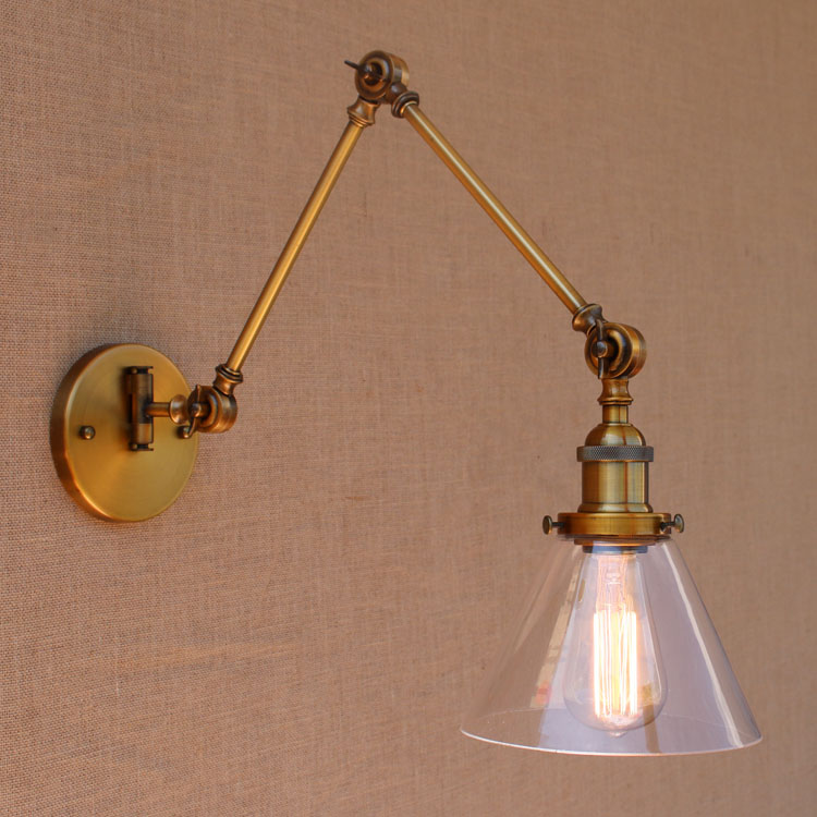 Glass Brass Adjustable Long Arm Wall Light Vintage Edison Loft Style - Indoor Lighting - Photo 3