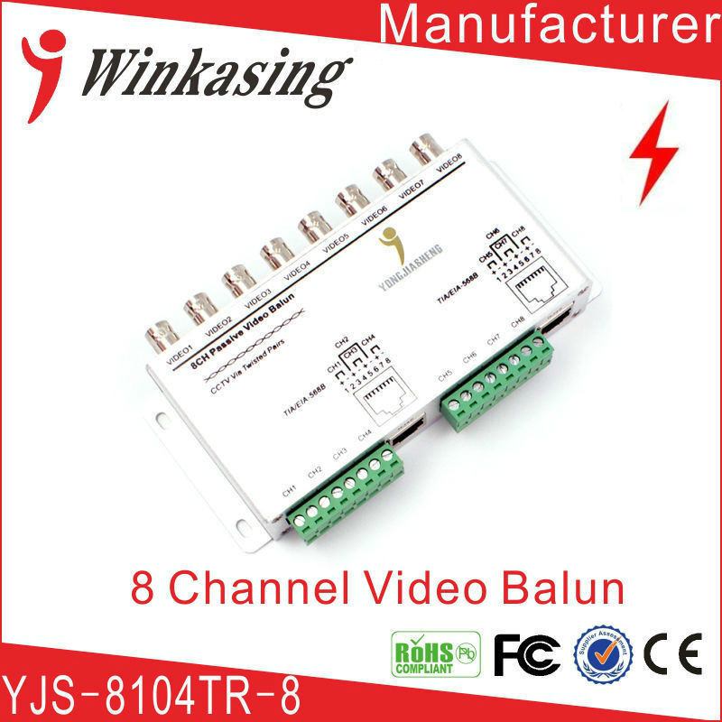 Free shipping 8 Channel Passive Transmitter CCTV Video Balun BNC Female to UTP Rj45 CCTV Camera DVR Cat5 with Cables single channel passive video balun grey silver 2 pcs