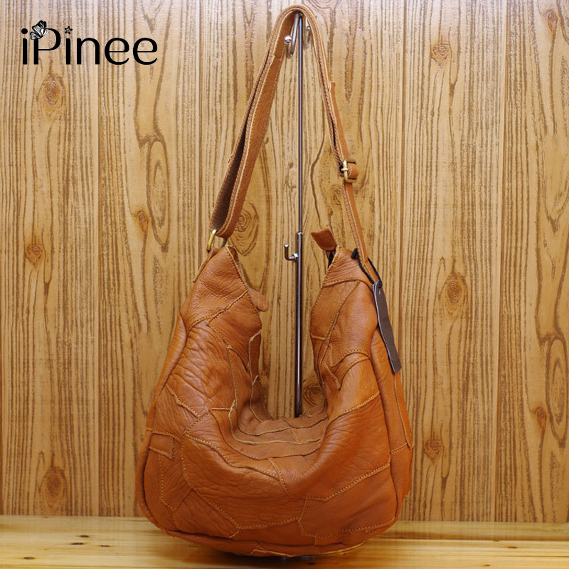 iPinee Patchwork Irregular Design Borse da donna Morbide borse in vera pelle National Wind Sheepskin Bag per le signore