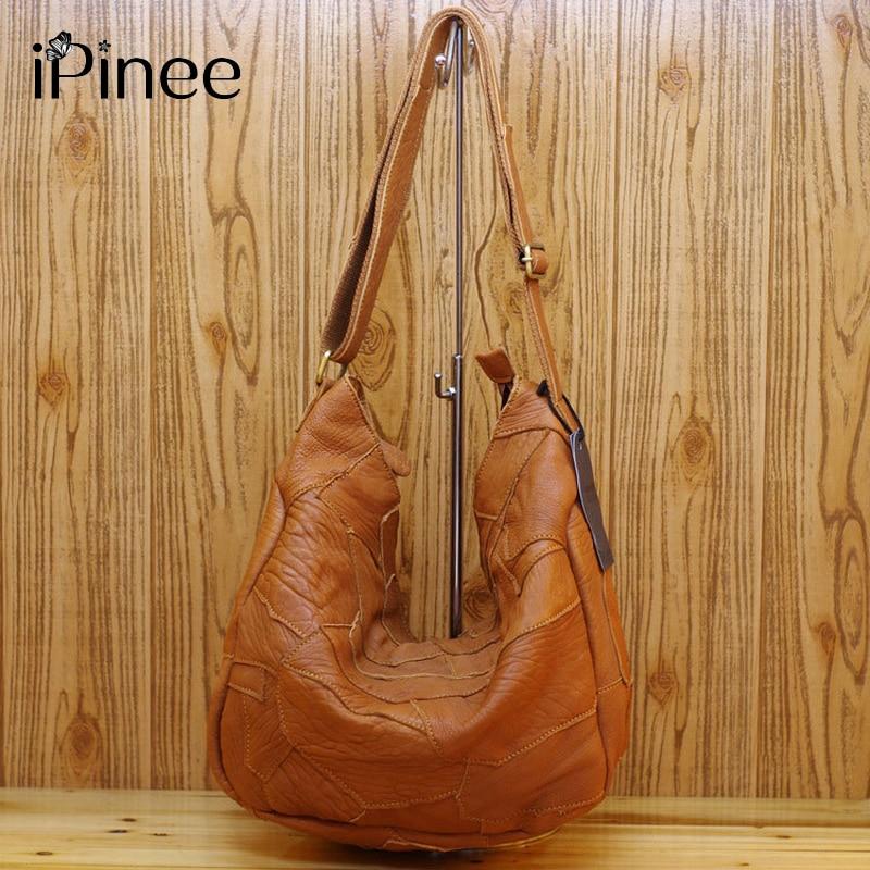 iPinee Szabálytalan Patchwork Design Női kézitáskák Lágy valódi bőr táskák Nemzeti Szélbőr táska Női