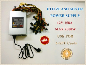 ETH ZCASH MINE power supply (NEW) MAX output 2000W 12V 158A suitable for R9 380 RX 470 RX480 6 GPU CARDS.YUNHUI