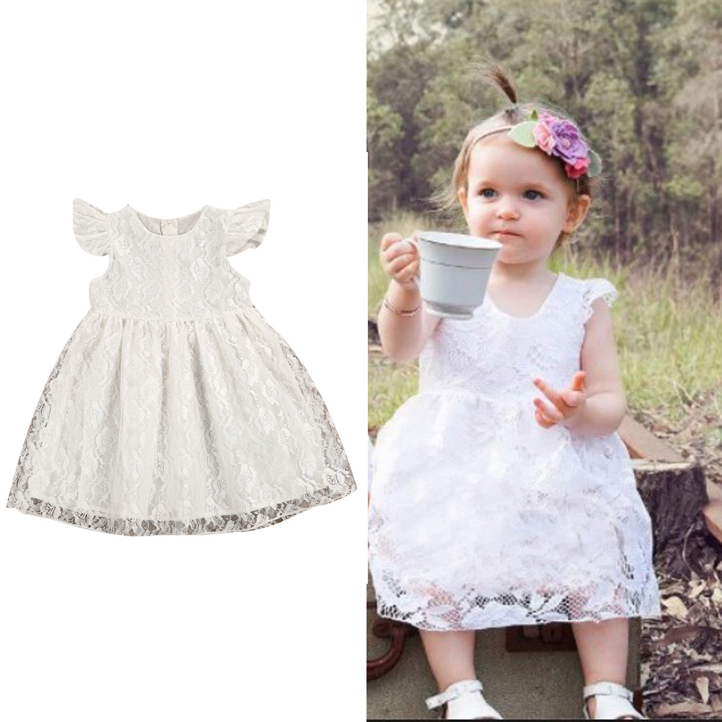 Infant Baby Girls Dresses Lace Floral Dress Party Wedding Princess Tulle Tutu Dress 2018 New Summer Toddler Kids Clothing