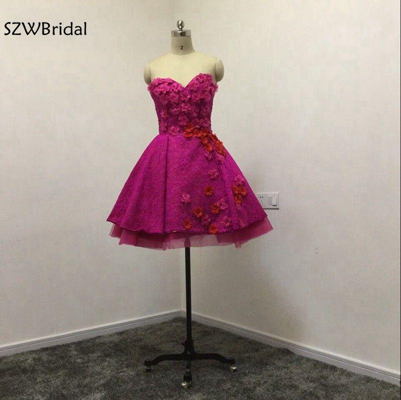 Vestido de festa curto Sweetheart Short   Cocktail     dresses   2019 Real photo Lace Party   dresses   2019 Plus size   cocktail     dress