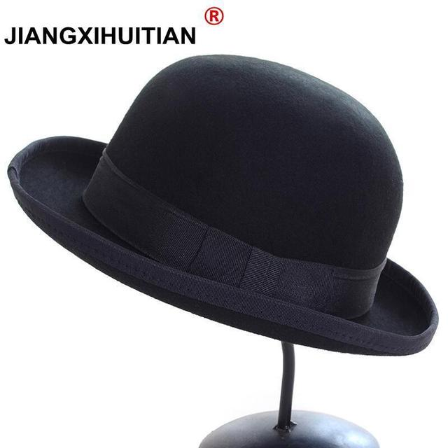 f297b553815 Vintage autumn Fashion Women s Casquette Trendy Bowler hat Kentucky derby  Real wool hats Chapeu feminino Bone Cap Fedora Hat