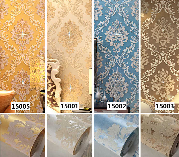 אירופה סגנון יוקרה יהלומים בדרגה גבוהה שאינו ארוג Wallcoverings דמשק חדר שינה טלוויזיה ספת רקע 3d Papel דה פארדה רול R522