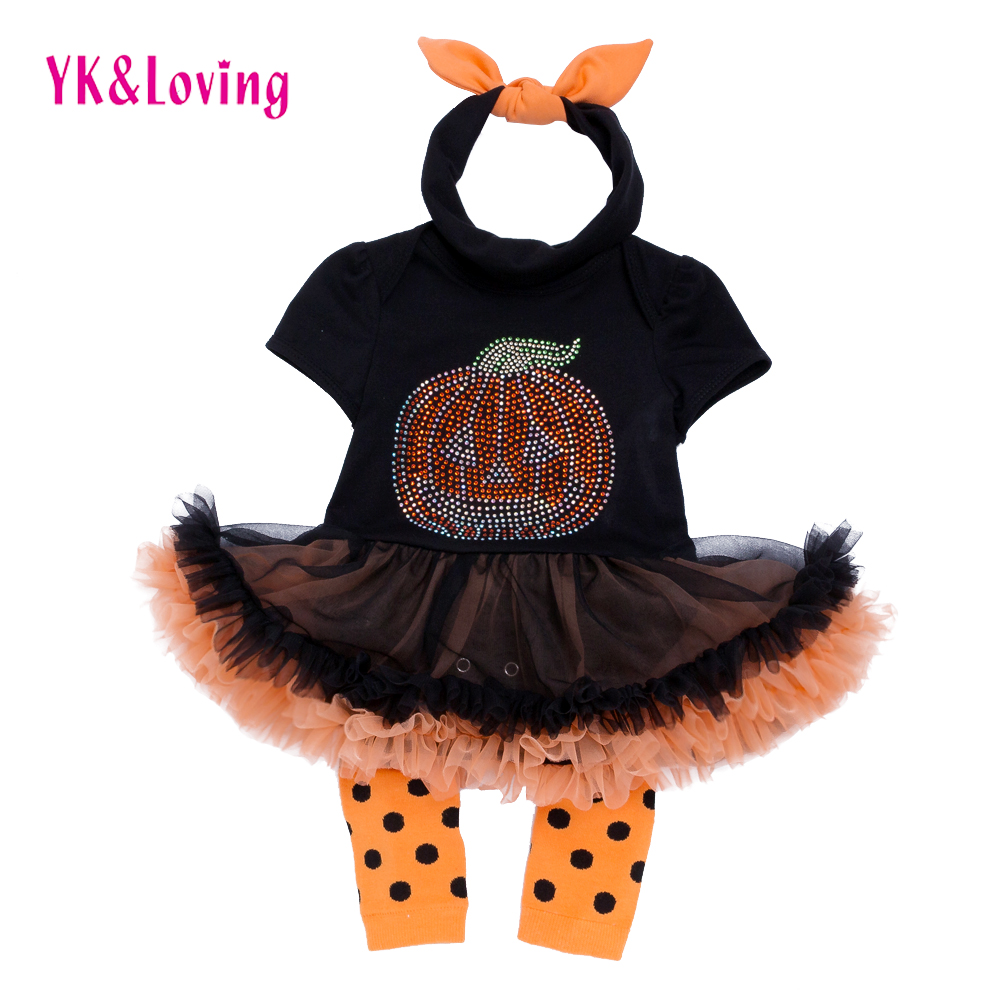 Halloween Baby Short Sleeve Rompers Girl Black Dresses Newborn Jumpsuit + Leg Warmers + Headband 3 Pcs Infant Clothing sets