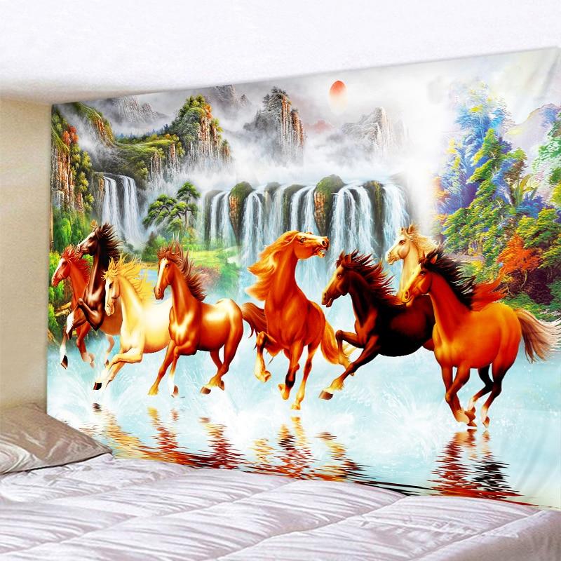 Beautiful Pentium Horse Decor Psychedelic Tapestry Wall Hanging Indian Mandala Hippie Boho Cloth