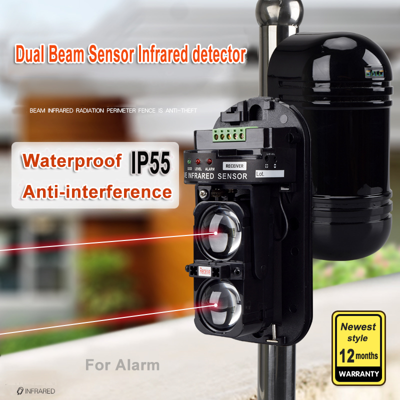 Waterproof Dual Beam Sensor Active Infrared Intrusion Detector IR 10m~150m Outdoor Perimeter Wall Barrier Fence For GSM Alarm
