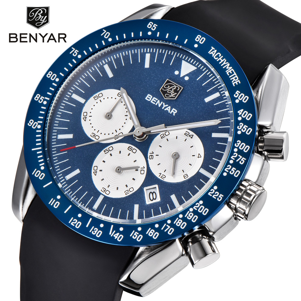 BENYAR Brand Men Sport Chronograph Silicone Strap Quartz Watches All pointers work Waterproof Fashion Watch Clock Men Male Blue minifocus stylish sport mens watches seiko chronograph wristwatch for men popular black and blue silicone chain clock male