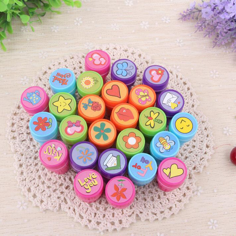 1pc Gardening Series Seal Round Plastic Cartoon Bring Inkpad Seal Toy School Office Party Favors Kids Educational Stationery