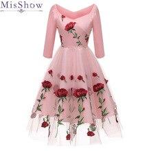 Розовое цветочное ТРАПЕЦИЕВИДНОЕ короткое коктейльное платье из фатина элегантное женское платье с открытой спиной и v-образным вырезом сексуальное женское коктейльное платье