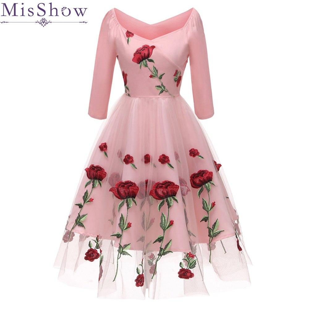 Pink Floral A-Line Short Tulle Cocktail Dresses 2019 Elegant Backless Women Vestidos V-Neck Sexy Women Cocktail Dresses