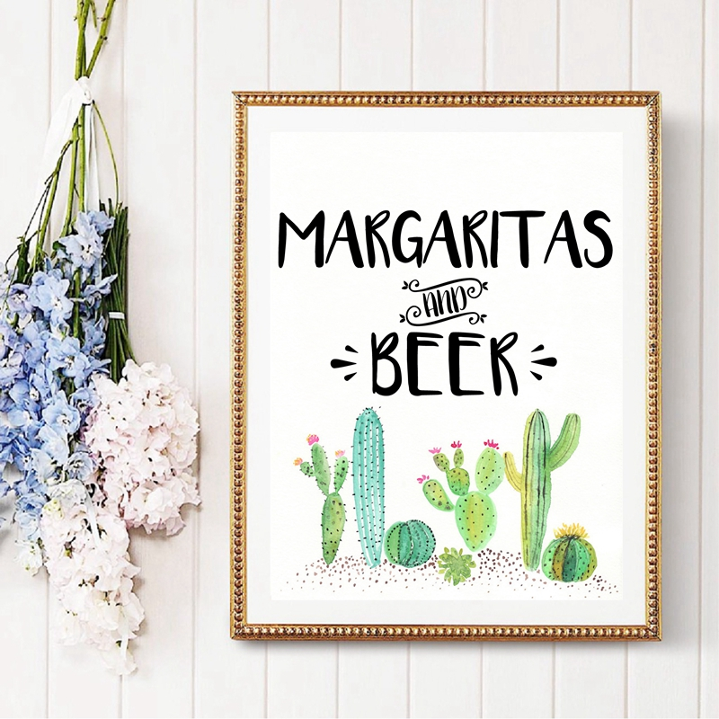 Fiesta Bar Sign Prints Margaritas and Beer Fiesta Bridal Shower , Succulent Cactus Bar Signs Art Painting Cinco de Mayo Decor image