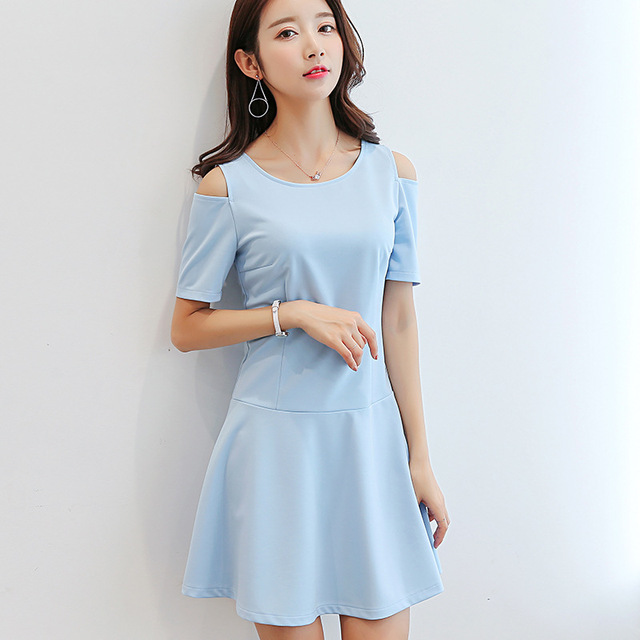 Summer Dress Women Clothing Bodycon Korean Cute Hollow Out Short Sleeve Fashion Sky Blue