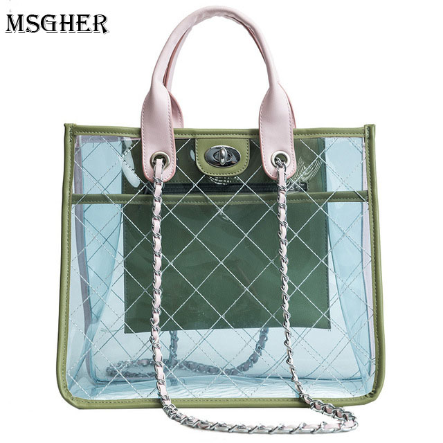 M.S Summer Transparent Trendy Composite Bag PVC Clear Handbag Lady Quilted plaid Bag Fashion Women Shoulder Tote Bags WB525