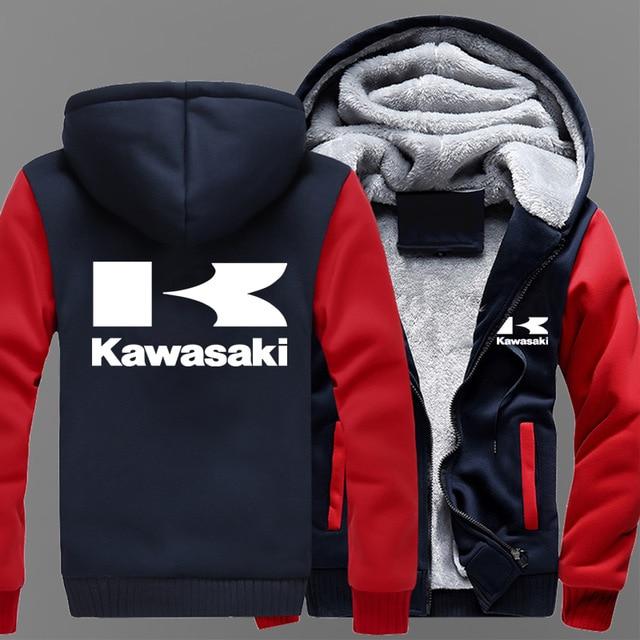 Factory Effex Official Kawasaki Mens Casual Hooded Sweatshirt Sherpa Zip Hoodies