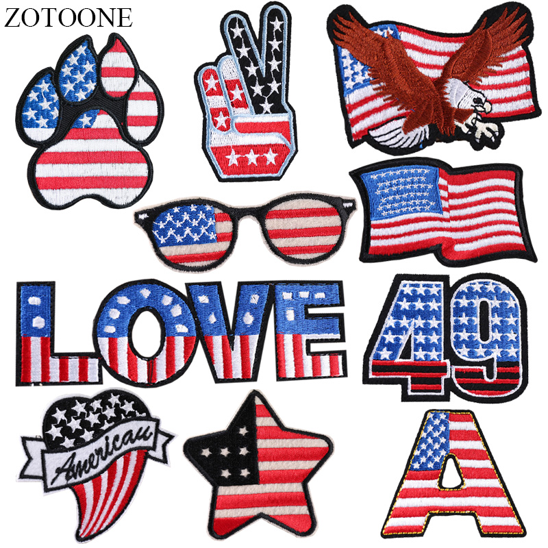 0628189f2ba ZOTOONE Iron on American Flag Patches for Clothes DIY Applique Embroidered  Patriotic USA Military Tactics Eagle