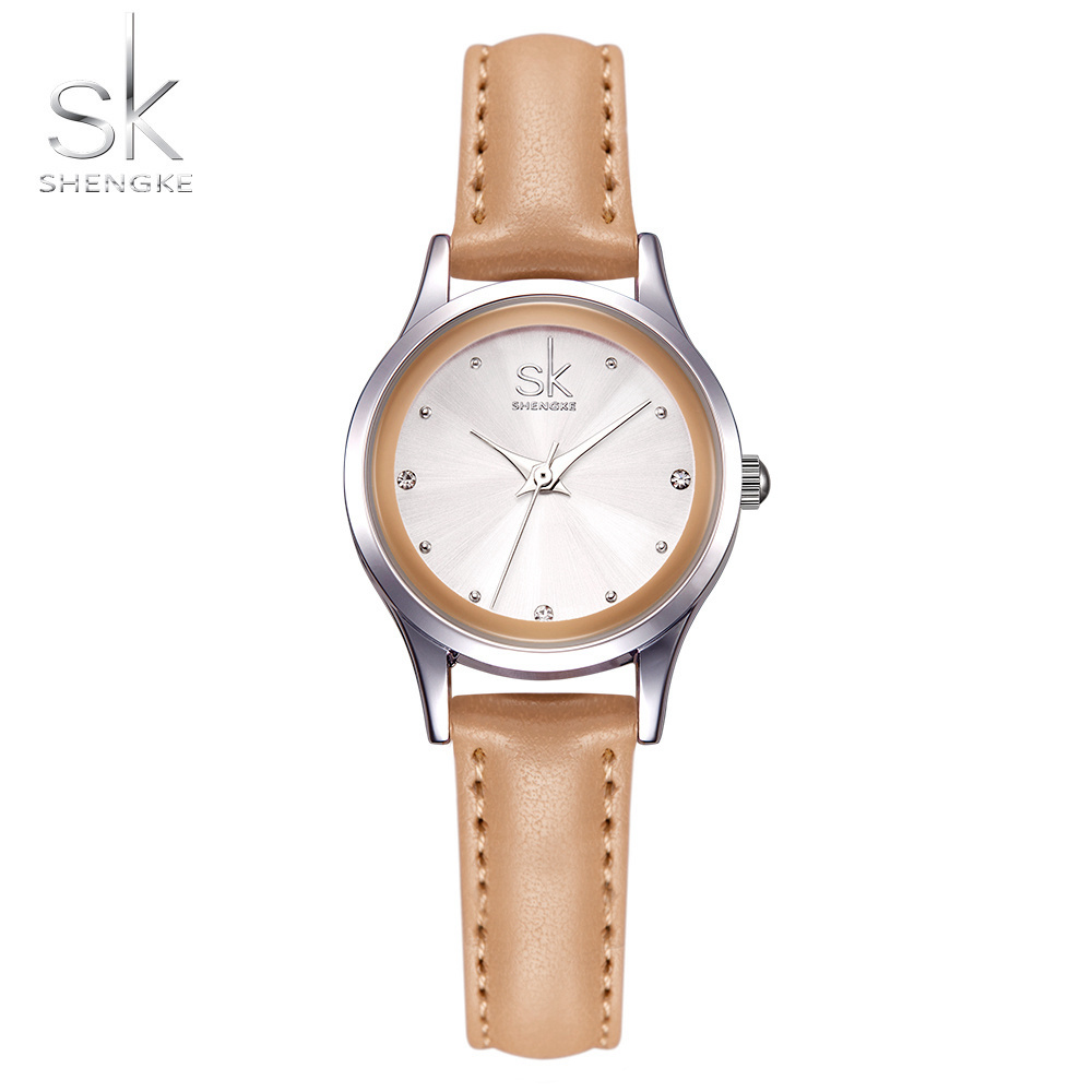 Shengke Brand Fashion Women Watches Leather Wrist Watches Ladies Casual 2017 Silver Case Quartz Watch Relogio Feminino Gift SK shengke top brand quartz watch women casual fashion leather watches relogio feminino 2018 new sk female wrist watch k8028