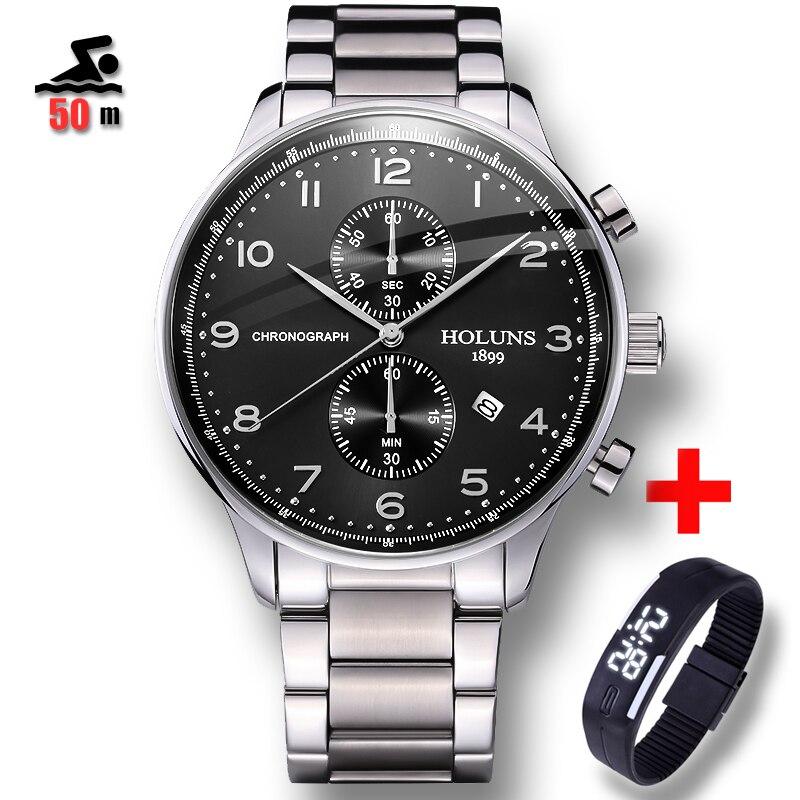 50 m résistant à l'eau Relojes hommes montres marque de luxe hommes militaire Sport montre bracelet mâle Quartz montre horloge relogio masculino-in Montres sport from Montres    1