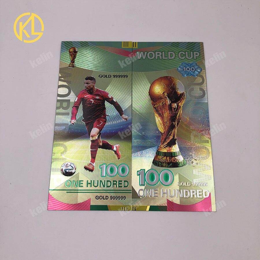 1 шт. хорошая цена Россия банкнот спортивные 100 рублей золотых банкнот в центре сообщений в течение 24k Gold Фольга с Национальный российский Футбол команды - Цвет: Ronaldo-silver