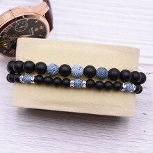KANGKANG 2 pieces/set classic 6mm 8mm Matte Black Natural stone bracelets For Women&Men Trend hot Selling bracelet
