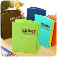 Korea Stationery Candy Color Cartoon Bookshelf Plastic Bookend Desk Book Organizer Office Shelves Pink Cheap School