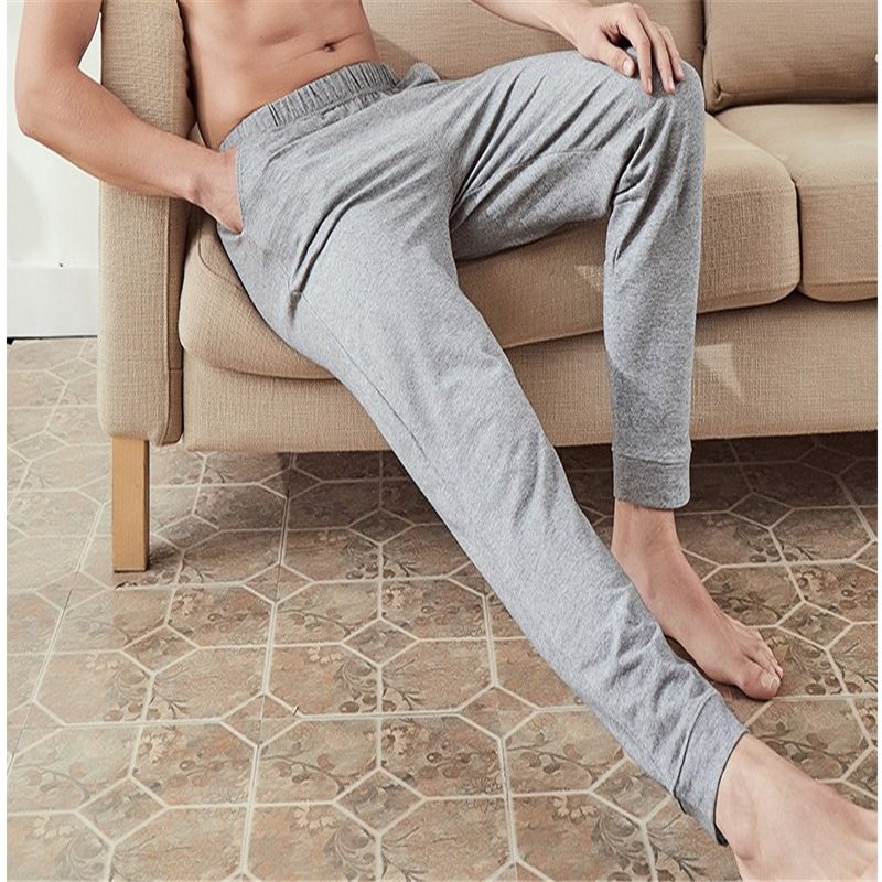 Cotton Sleep Bottoms Mens Solid Casual Elastic Waist Sleep Pants Autumn Winter Thick Sports Homewear Sleeping Trousers MA50170