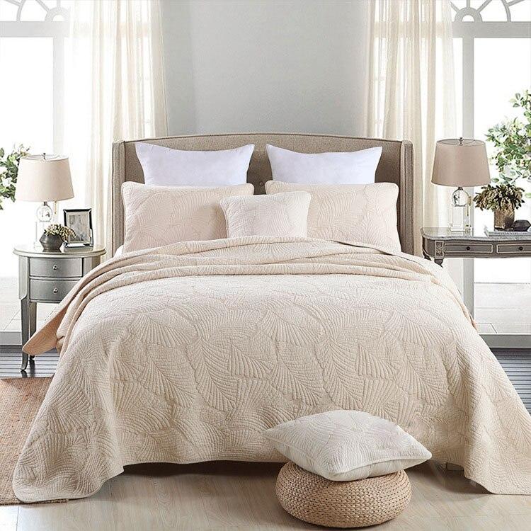 부드러운 코튼 침대 커버 세트 화이트 베이지 그린 핑크 3 pcs 침구 세트 퀸 더블 사이즈 퀼트 침대 확산 시트 담요 세트-에서침구 세트부터 홈 & 가든 의  그룹 1