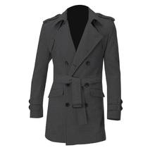 TFGS Мужчины Погонах Slim Fit Двойной Брестед Поясом Шерстяные Пальто
