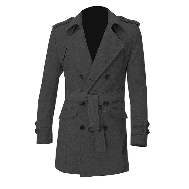TFGS Men Epaulets Slim Fit Double Breasted Belted Worsted Coat
