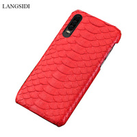 natural python leather Case For Huawei p30 P20 phone case For Honor 8X 10 luxury back cover for Huawei P30 pro Lite p20