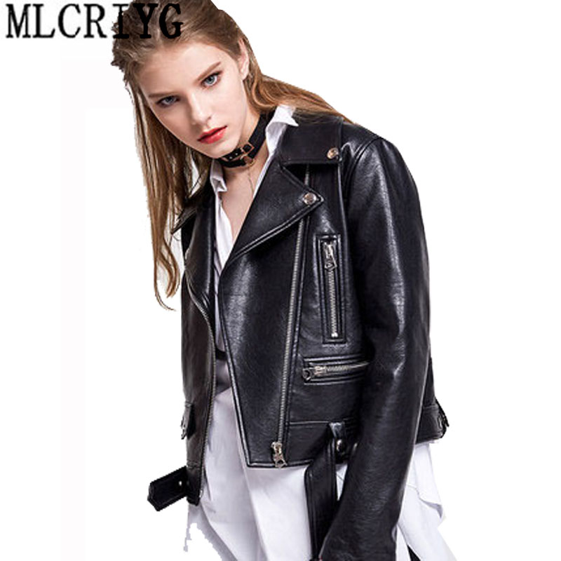 2019 New Arrial Women Autumn Spring Faux   Leather   Jackets Lady Fashion Motorcycle Coat Biker Pu   Leather   Slim Jacket Outwear L120