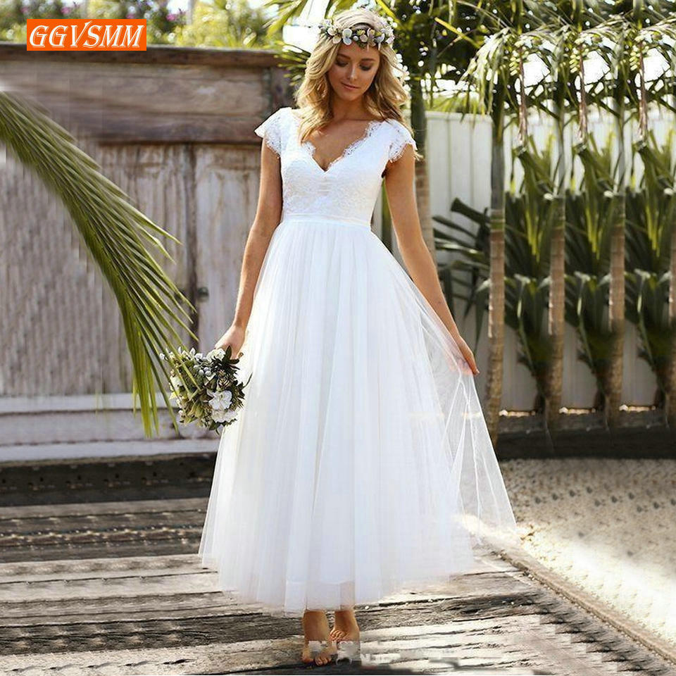 Elegant Boho Women White Wedding Gowns 2019 Wedding Dress Party Slim Fit V-Neck Lace A-Line Ankle Length Formal Bridal Dresses