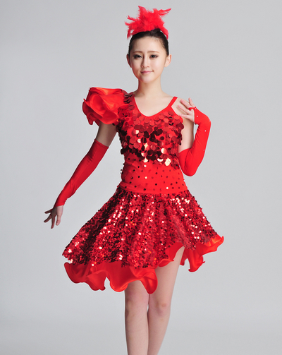 Professional Latin American Dance clothing, feather sequined skirt Latin Tango Latin skirts Square hosted chorus