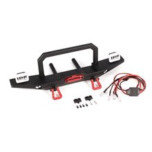 Metal Front/Rear Bumper + LED Light RC Car Parts Accessories for 1/10 Scale Axial 4WD SCX10 Traxxas TRX-4 D90 RC Rock Crawler