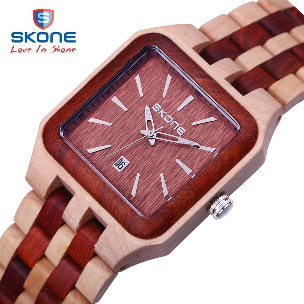 SKONE Fashion Wooden Dress Watch Men Top Brand Luxury Wood Mens Quartz Watch Famous Watches Clock Relogio Masculino Hodinky XFCS 2016fashion top luxury brand unique vogue mens quartz watches wooden outdoor sport watches clock casual wood watch