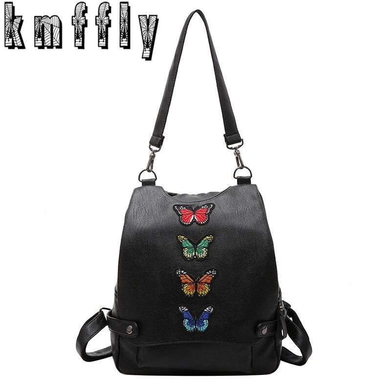 KMFFLY Women Butterfly Backpack High Quality Sheepskin bags Flower Tassels Leather Sac A Main Girls women