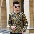 2016 Poleras Hombre Барокко Шелковые Рубашки Мужские Royal Золота Велюр роскошные Одежды Мужские Бархат Мужская Социальной Heren Kledij Клуб Топ мужчины