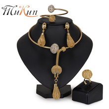 MUKUN Fashion African Beads Jewelry Set Exquisite brand Dubai gold-color Jewelry Set Nigerian Wedding bridal jewelry sets design mukun nigerian wedding woman accessories jewelry set fashion african bead jewelry set brand dubai big gold color jewelry sets