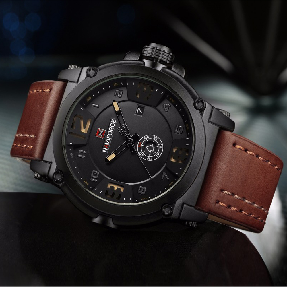 2017 New Luxury Brand NAVIFORCE Men Military Sports Watches Men's Quartz Date Clock Man Casual Leather Watch Relogio Masculino bsa optics 3 5 10x40 m1 hunting riflescope tactical scope red and green dot reticle fiber optics sight for airsift gun