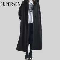 SuperAen Korean Style Women Hoody Women Loose Jacket Solid Color Cotton Thick Ladies Coat Fashion Wild