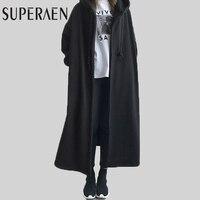SuperAen Korean Style Women Hoody Women Loose Jacket Solid Color Cotton Thick Ladies Coat Fashion Wild